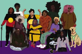 Poster art for 3CR Disability Day Broadcast 2019 by Rukaya Springle (aka clitories).   IMAGE DESCRIPTION: A colourful digital illustration of a group of people with different visible and invisible disabilities, gathered together in a group. They have different skin tones, and appear to be different ages. One of the people illustrated is Jane Rosengrave; she is flexing her biceps and wearing an Aboriginal Flag t-shirt.